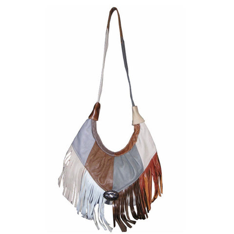 Fringed Leather Bag - Soft Genuine Leather Grey Color - WholesaleLeatherSupplier.com  - 5
