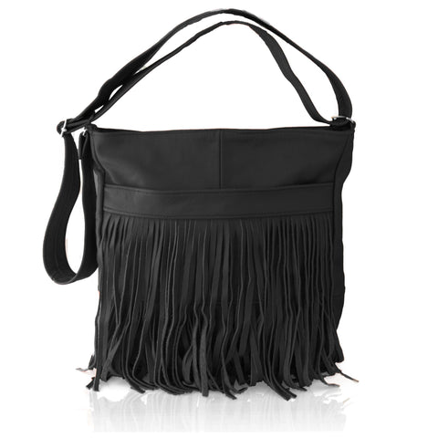 Deluxe Front-Fringed Messenger Bag - Black Color - WholesaleLeatherSupplier.com