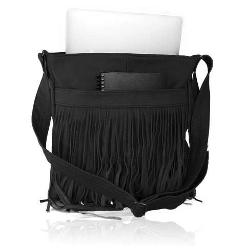 Deluxe Front-Fringed Messenger Bag - Black Color - WholesaleLeatherSupplier.com  - 2