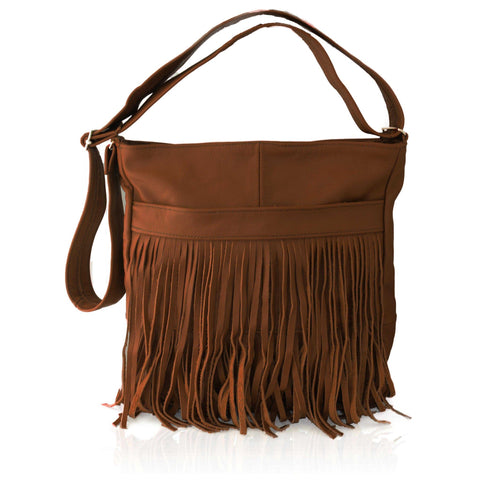 Deluxe Front-Fringed Messenger Bag  - Brown Color
