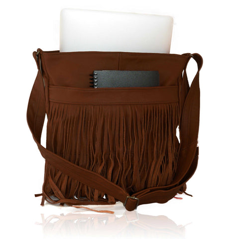 Deluxe Front-Fringed Messenger Bag - Black Color - WholesaleLeatherSupplier.com  - 4