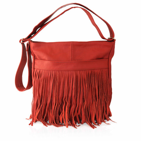 AFONiE Deluxe Front-Fringed Messenger Bag - Red Color