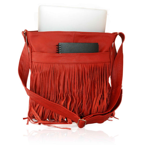 Deluxe Front-Fringed Messenger Bag - Red Color