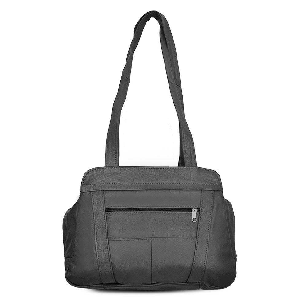 Fine Mexican Leather Shoulder Bags - Grey Color