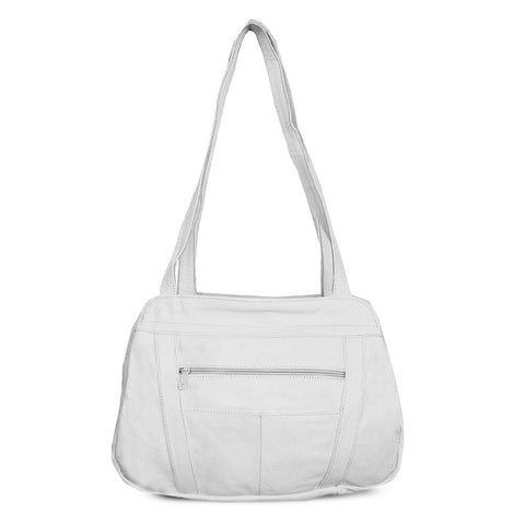 Fine Mexican Leather Shoulder Bags - White Color