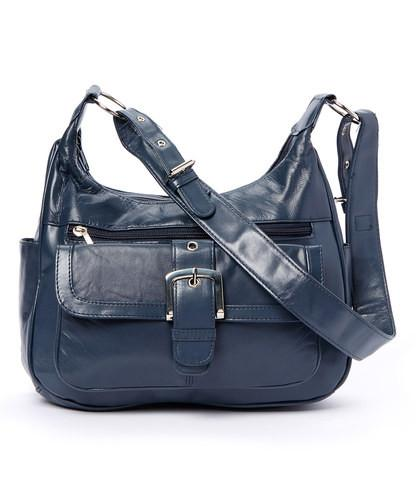 Soft Leather Buckle Accent Classic Blue Purse