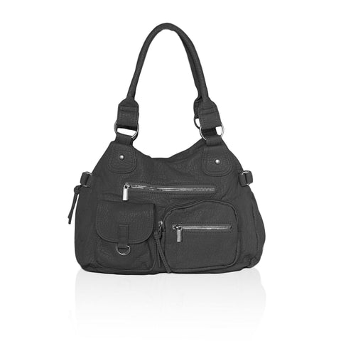 Designer Soft Multi Pocket Shoulder Bag - Black - WholesaleLeatherSupplier.com