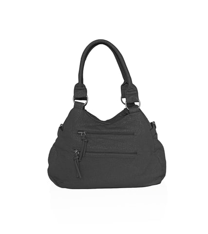 Designer Soft Multi Pocket Shoulder Bag - Black
