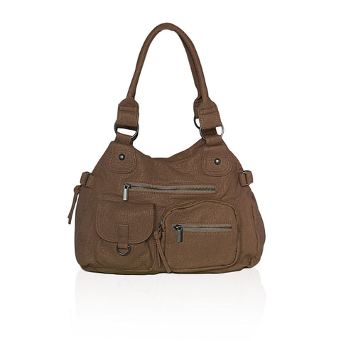 AFONiE Designer Soft Multi Pocket Shoulder Bag - Brown