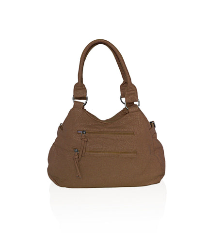 Designer Soft Multi Pocket Shoulder Bag - Brown