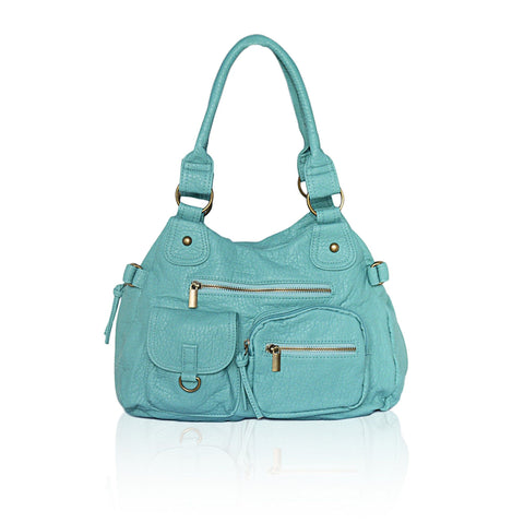 Designer Soft Multi Pocket Shoulder Bag - Green