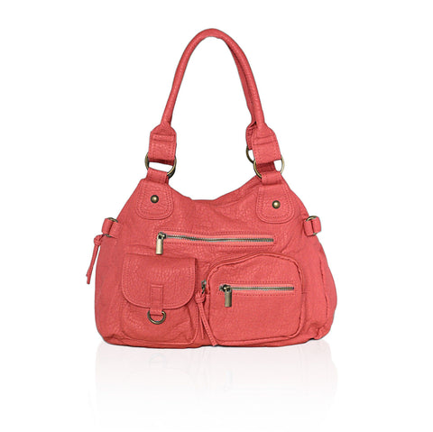 AFONiE Designer Soft Multi Pocket Shoulder Bag - Red