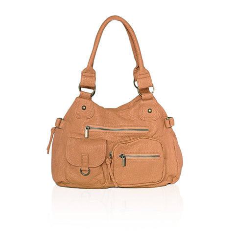 Designer Soft Multi Pocket Shoulder Bag - Tan