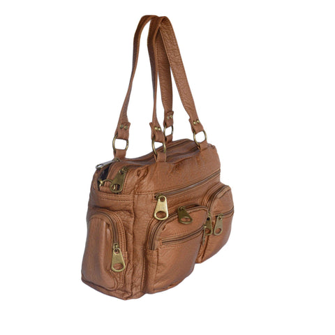 Chic Washable Vegan Leather Series- Comfortable Shoulder/Bowling Bag - Brown - WholesaleLeatherSupplier.com  - 4