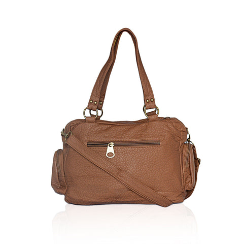 Chic Washable Vegan Leather Series- Comfortable Shoulder/Bowling Bag - Brown - WholesaleLeatherSupplier.com  - 2