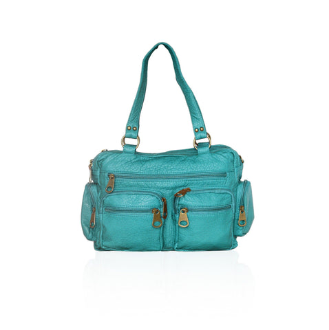 Chic Washable Vegan Leather Series- Comfortable Shoulder/Bowling Bag - Green