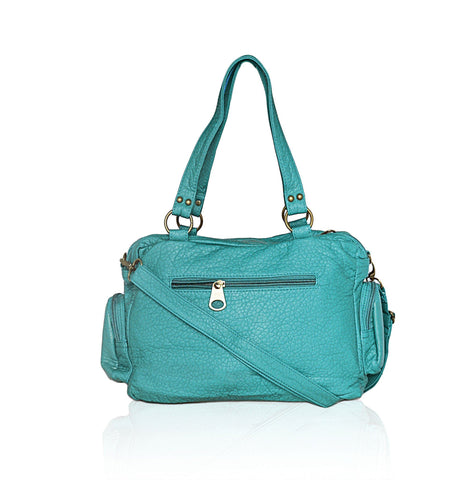 Washable Vegan Leather Series- Comfortable Shoulder/Bowling Bag - Green