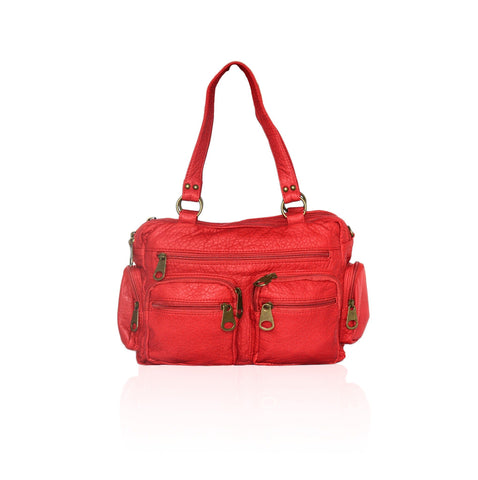 Chic Washable Vegan Leather Series- Comfortable Shoulder/Bowling Bag - Red