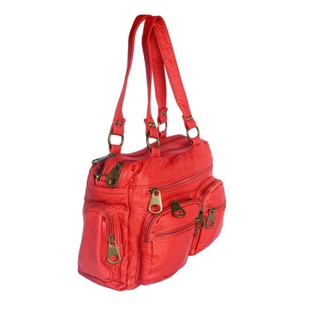 Washable Vegan Leather Series- Comfortable Shoulder/Bowling Bag - Red