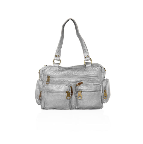 Chic Washable Vegan Leather Series - Comfortable Shoulder/Bowling Bag - Silver