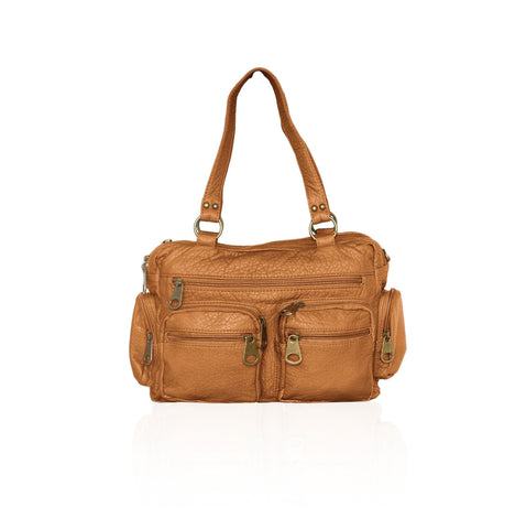 Chic Washable Vegan Leather Series- Comfortable Shoulder/Bowling Bag - Brown - WholesaleLeatherSupplier.com  - 16