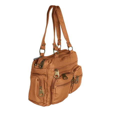 Chic Washable Vegan Leather Series- Comfortable Shoulder/Bowling Bag - Brown - WholesaleLeatherSupplier.com  - 17