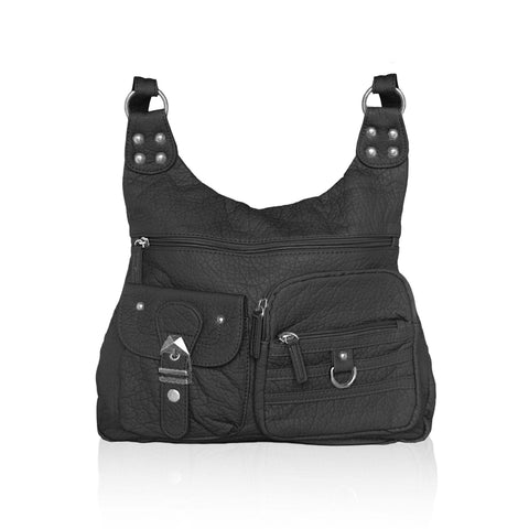 Chic Washable Vegan Leather Series - Casual Messenger Bags - Black