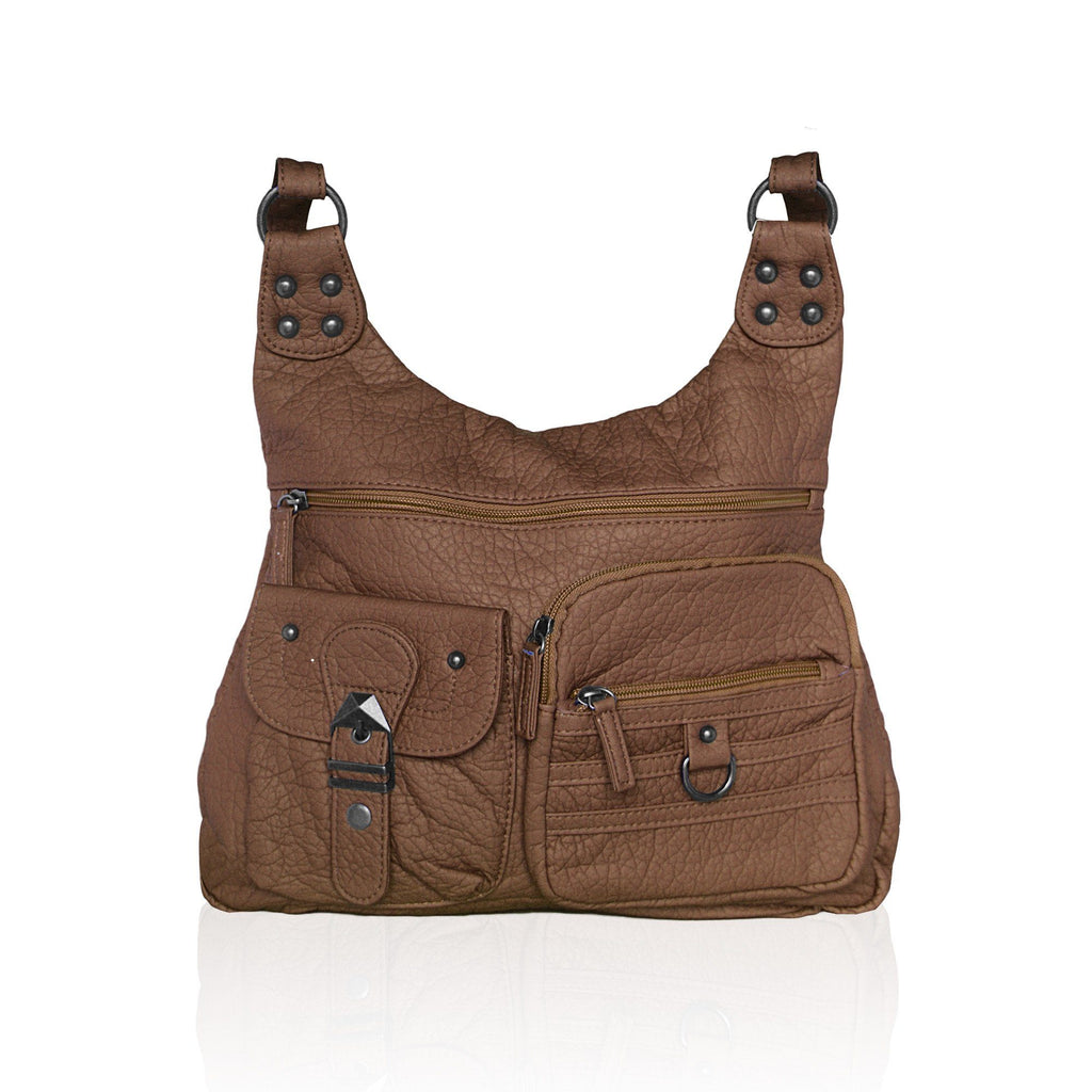 Chic Washable Vegan Leather Series - Casual Messenger Bags - Brown - WholesaleLeatherSupplier.com