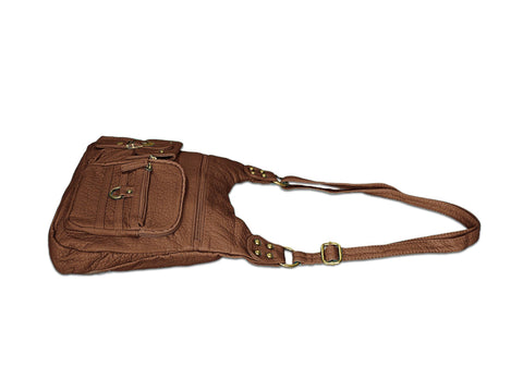 Chic Washable Vegan Leather Series - Casual Messenger Bags - Brown - WholesaleLeatherSupplier.com  - 2