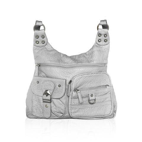 Chic Washable Vegan Leather Series - Casual Messenger Bags - Silver - WholesaleLeatherSupplier.com