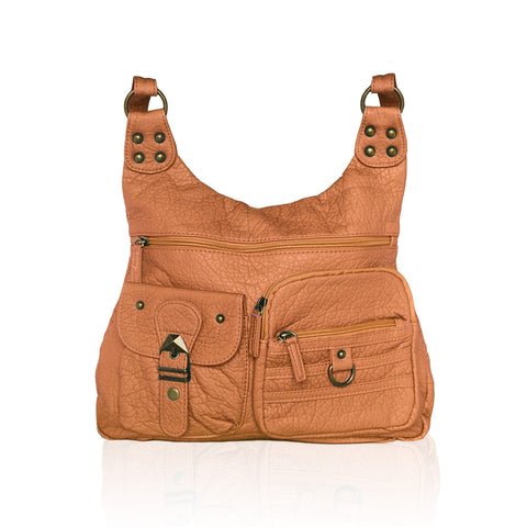 Chic Washable Vegan Leather Series - Casual Messenger Bags - Brown - WholesaleLeatherSupplier.com  - 16