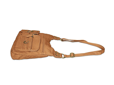 Chic Washable Vegan Leather Series - Casual Messenger Bags - Tan - WholesaleLeatherSupplier.com