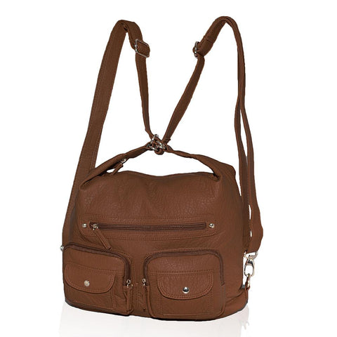 AFONiE 3 In 1 Washable Handbag Soft Multi Pocket - Color Brown