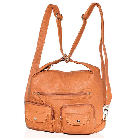 AFONiE  3 In 1 Washable Handbag Soft Multi Pocket - Color Tan