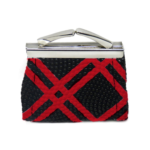 Stripes Lipstick Kiss Lock Coin Wallet