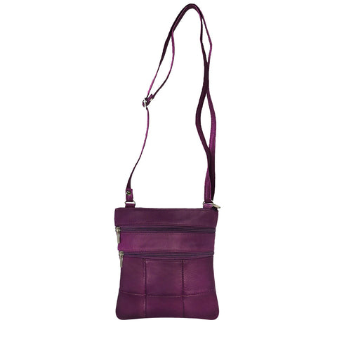 Genuine Cowhide Leather Multi-Pocket Crossbody Purse Bag - Purple