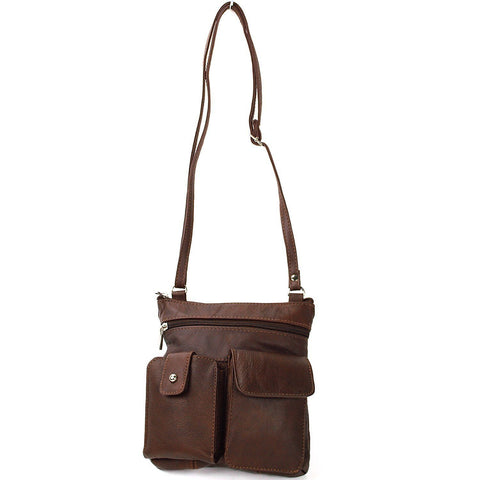 Soft Leather Two Front Purse Brown Color Cross-body Style - WholesaleLeatherSupplier.com  - 10