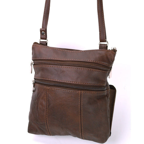 Soft Leather Two Front Purse Brown Color Cross-body Style - WholesaleLeatherSupplier.com  - 11