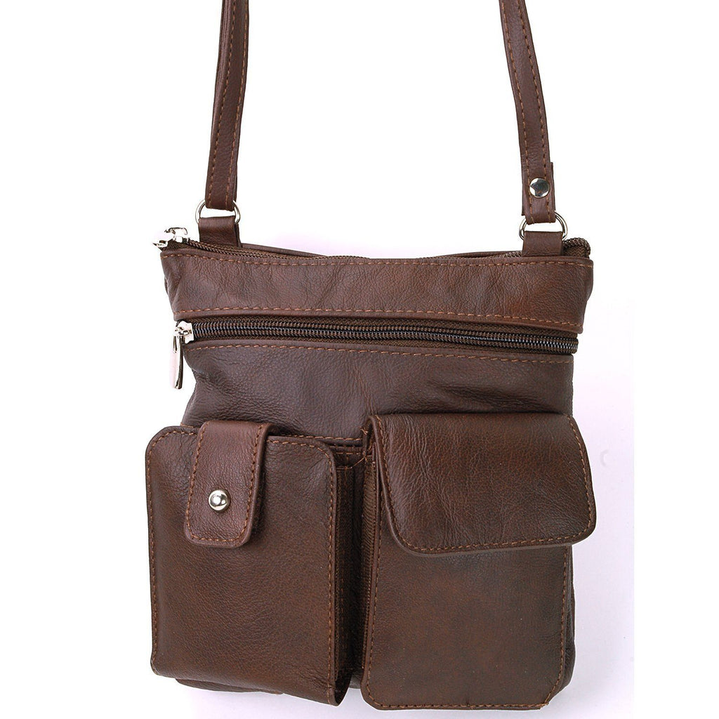 Soft Leather Two Front Purse Brown Color Cross-body Style - WholesaleLeatherSupplier.com  - 1