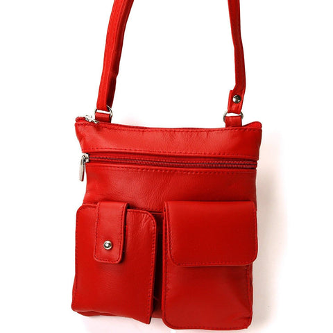 Soft Leather Two Front Purse Red Color Cross-body Style - WholesaleLeatherSupplier.com  - 1