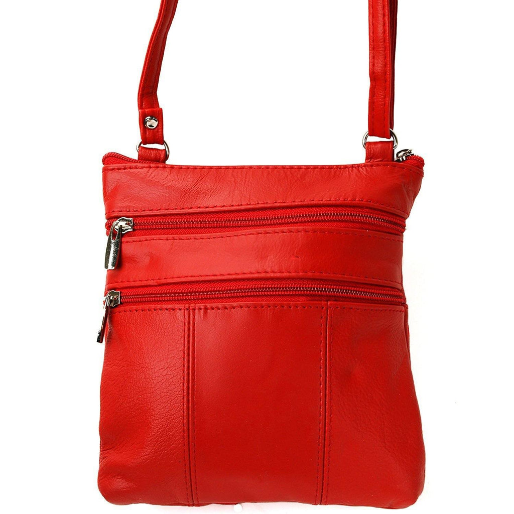 Soft Leather Two Front Purse Red Color Cross-body Style - WholesaleLeatherSupplier.com  - 2