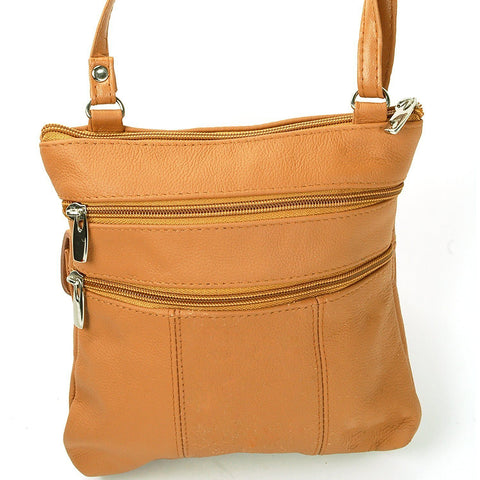 Soft Leather Two Front Purse Brown Color Cross-body Style - WholesaleLeatherSupplier.com  - 8