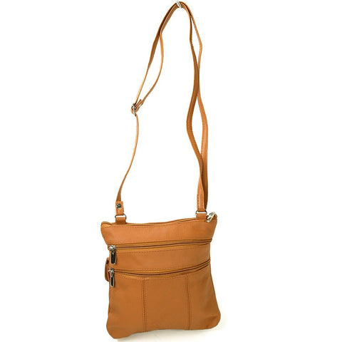 Soft Leather Two Front Purse Brown Color Cross-body Style - WholesaleLeatherSupplier.com  - 9