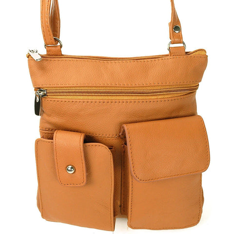 Soft Leather Two Front Purse Tan Color Cross-body Style - WholesaleLeatherSupplier.com  - 1