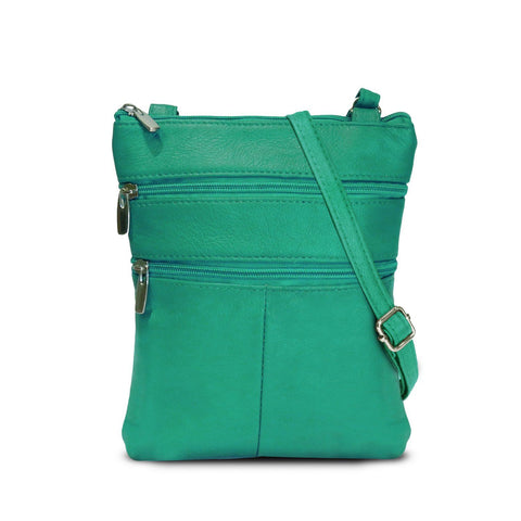 A Soft Genuine Leather Multi-Pocket Crossbody Bag Crossbody WholesaleLeatherSupplier.com Green