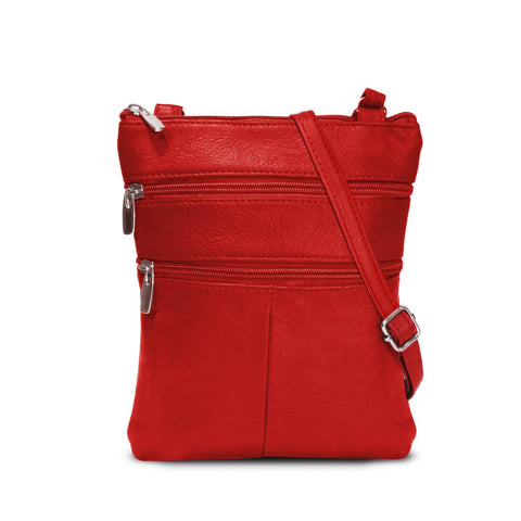 Genuine Cowhide Leather Multi-Pocket Crossbody Purse Bag - Red