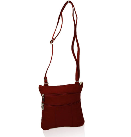 Genuine Cowhide Leather Multi-Pocket Crossbody Purse Bag - Brown