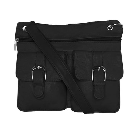 Deluxe Functional Multi Pocket Leather Crossbody Bag - Black