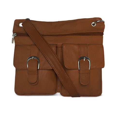 Deluxe Functional Multi Pocket Leather Crossbody Bag - Brown