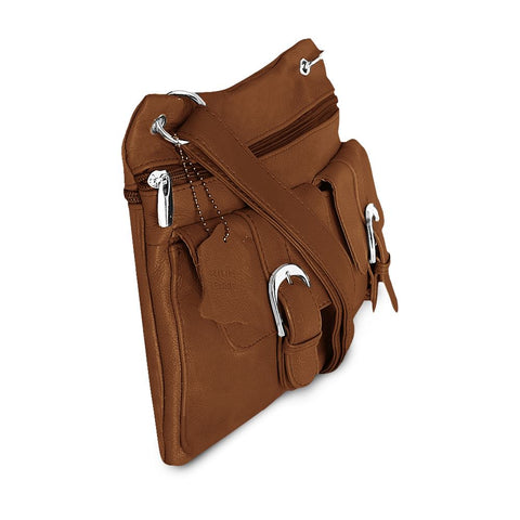 Deluxe Functional Multi Pocket Leather Crossbody Bag - Tan